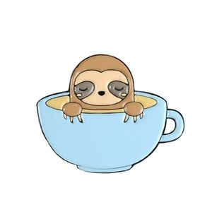 Sloth in a coffe cup enamel pin